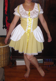 Goldilocks outfit. Rather enticing. Makes you glad there are no holes in the bear suit.
